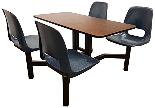 Rodo Industries 14ST-NB-WA 14ST,NB,WA Series 1 Public Cluster Modular Seating, Four Seat Island Units, Navy Blue Seat, Walnut Tabletop, 60