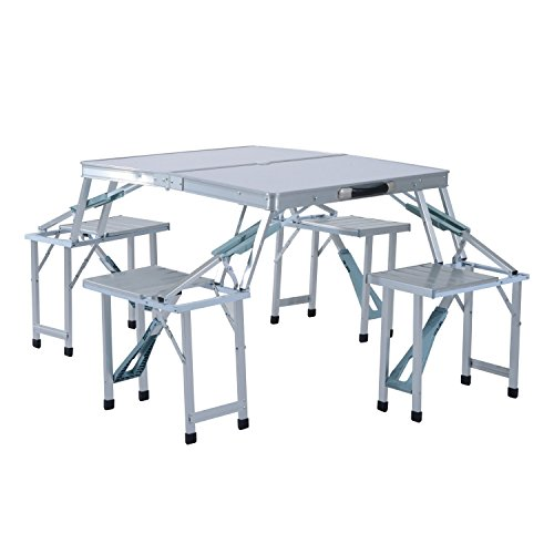 Outsunny Portable Folding Outdoor Picnic Table w/ 4 Seats