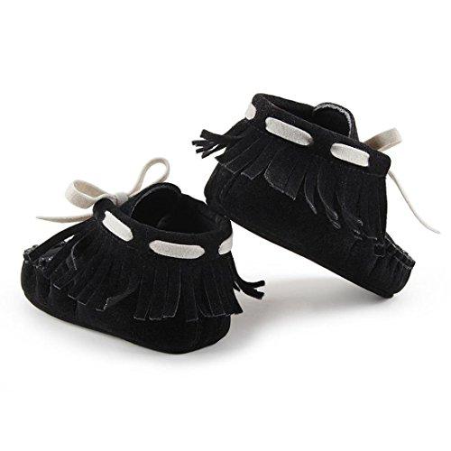 Tefamore zapatos primeros pasos de bebes de antideslizante de sole suave de moda invierno de calentar Negro