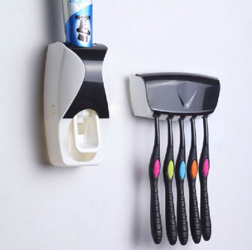 [New Automatic Toothpaste Dispenser + PLUS 5 Toothbrush Holder Set Wall Mount Stand Hygiene and convenient] (Homemade Jellyfish Costume)