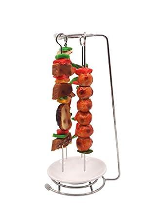 Acero inoxidable soporte de rack con 6 pinchos & un plato, barbacoa, barbacoa Kebab