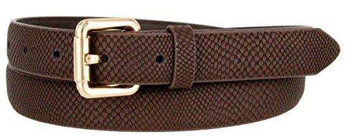 Skinny Women's Snakeskin Embossed Leather Casual Dress Fashion Belt (Brown, Small)