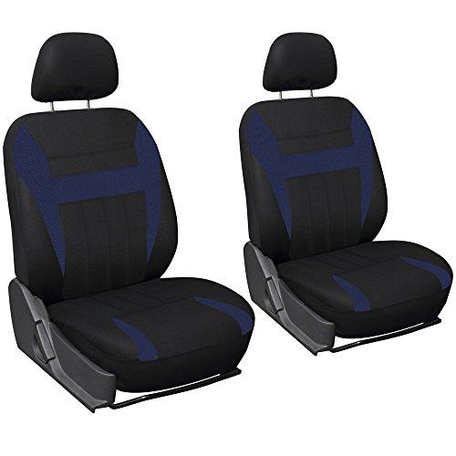 Volkswagen Beetle Car Seat Covers - OxGord Car Seat Cover Flat Cloth Bucket Set for Car, Truck, Van, SUV - Black,Blue