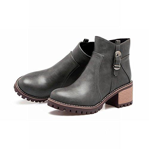 Mee Shoes Damen chunky heels kurzschaft ankle Boots Grau