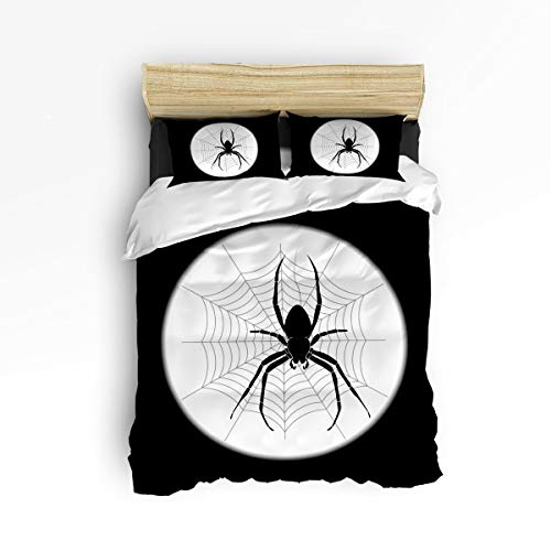 - Full Size 4 Piece Duvet Cover Set Cute Soft Bed Sheet Sets with Zipper,Spiders Web Halloween Black and White Comforter Cover Bedding Sets,Include 1 Duvet Cover+1 Bed Sheets+2 Pillow Case