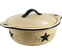 Star Vine Primitive Style Covered Round Baking Dish