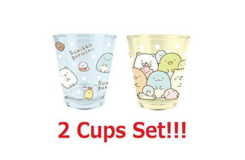 T's factory 2 Cups Set San-X Sumikko Gurashi Color Crystal Cup BLUE & YELLOW SG-5526229CH SG-5526228GY