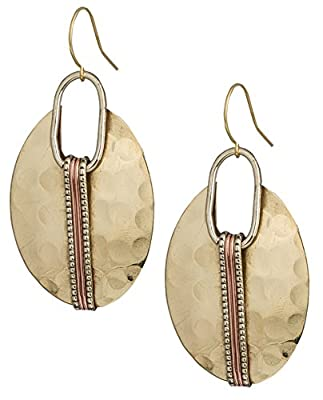Boho Round Gold & Silver Ethnic Hammered Crescent Earring   SPUNKYsoul Collection