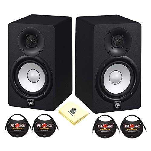 Yamaha HS Series HS5 2-Way 70W Bass-Reflex Bi-amplified Nearfield Powered Studio Monitor (Pair) with 2 MIDI Cable and Zorro Sounds Speaker Polishing Cloth
