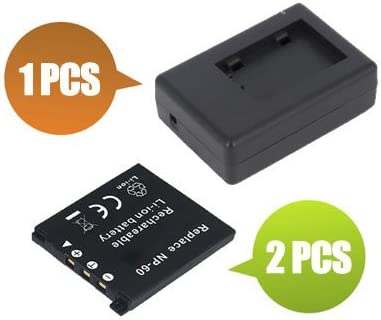 BattPit trade; New 2x Digital Camera Battery 800 mAh 1x Charger Replacement for Casio NP-60