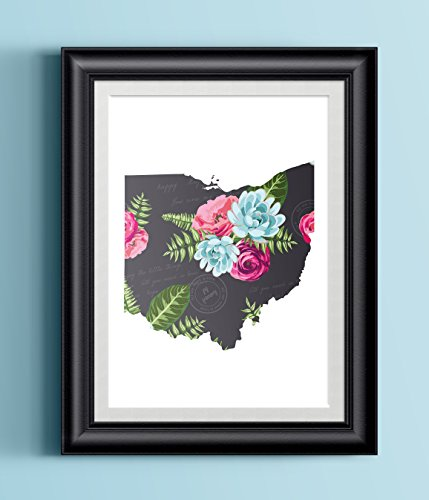 Paper Coat (Ohio Home Modern Floral Print   Home State Poster   Wall Decor)