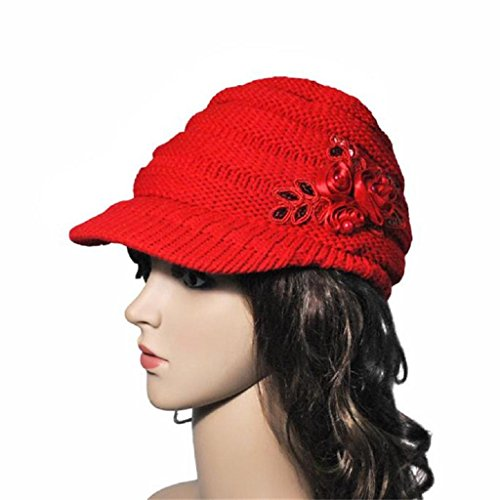 YANG-YI Autumn Winter Women Hat Brim Sequin Applique and Tide Knit Cap (red, ONE (Applique Hat)