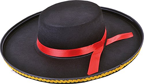 Unisex Adult Spain Fancy National Dress Party Spanish Hat Felt Black One Size by Bristol Novelty