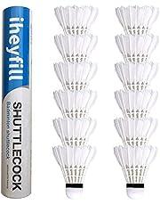 iheyfill 12 stuks ganzenveren badmintonshuttle met hoge stabiliteit en duurzaamheid ganzenveren shuttlecockstraining badmintonballen