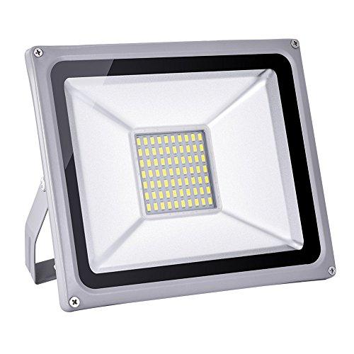 Himanjie LED Projecteur Extérieur 50W 70 LEDs , Eclairage de sécurité, 3500 lumen, Étanche IP65, Lumiere Blanc Froid(6000K-6500K) pour Jardin, Cour,Terrasse, Square
