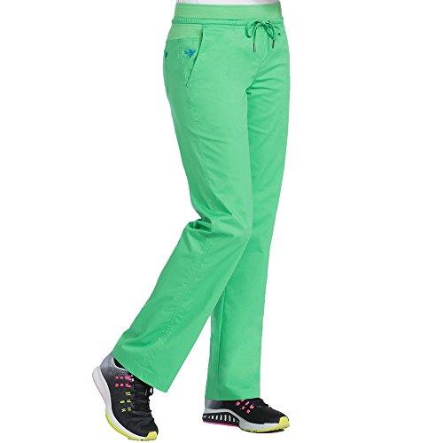 (Med Couture Signature Yoga Drawstring Scrub Pant for Women, Shamrock/Bali Blue, Large Petite)