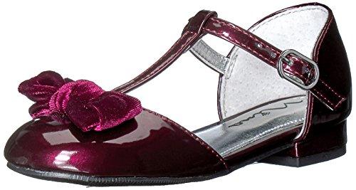 Nina Girls' Almira-T Pump, Burgundy Patent/Velvet, 10 M US (Toddler Burgundy Patent Footwear)