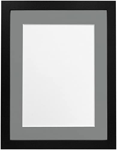 FRAMES BY POST H7 Picture Photo and Poster Frame A1 Image Size A2 Plastic Glass Black Ash with Black Mount