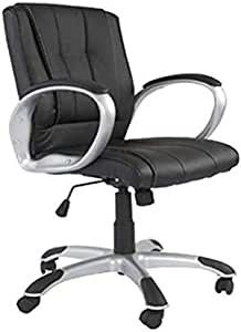 Mahmayi Bruno 0078 Executive Pu Chair - Black - Office Chair With Silver Painted Nylon Base (Low Back)