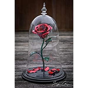 Handmade Enchanted Aluminum Metal Rose – Beauty and the Beast replica plus custom engraving