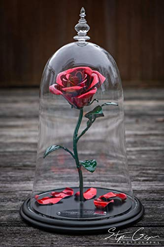 Handmade Enchanted Aluminum Metal Rose - Beauty and the Beast replica plus custom engraving