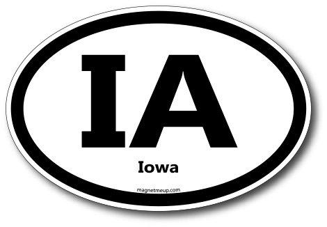 IA Iowa Car Magnet US State Oval Refrigerator Locker SUV Heavy Duty Waterproof