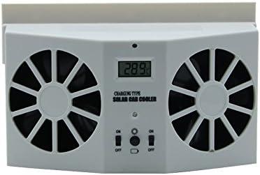 GJF Fan de ventilación Solar del Coche, Extractor Doble del Coche del Mercado de Aire, Mini Ventilador portátil-White