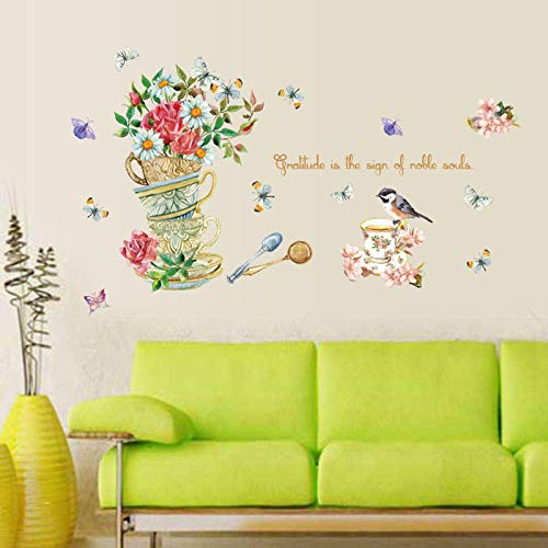 Hand Painted Kids Murals - Iusun Wall Stickers Hand Painted Teacup Butterfly Flowers Wall Paper Mobile Removable Self-Adhesive Art Mural for Bedroom Living Room Restaurant Kids Nursery Kindergarten Mall Decoration (Multicolor)