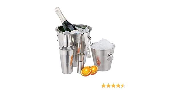 Compra Relaxdays 10024733 Set de coctelería, Pinzas para Hielo, Cubitera, Enfriador de Botellas, Medidor, Coctelera, Plateado, Acero Inoxidable en Amazon.es