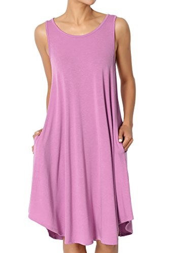 TheMogan Women's Sleeveless Trapeze Knit Pocket T-Shirt Dress Dark Mauve M