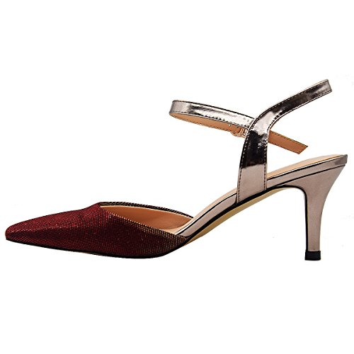 Shoe Verocara Toe Heel Wine Walking Working Material and Women's Sandal Special Sexy Pointed 5'' for Mid 2 rf4Pxrwqn