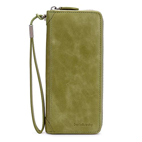 Women Leather Wallet Rfid Blocking Large Capacity Zipper Around Travel Wristlet Bags (Palm Green) by Doris&Jacky (Image #1)