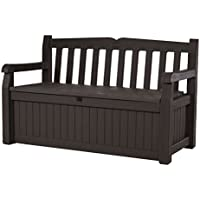"Keter Eden 70 Gallon Storage Bench Deck Box for Patio Furniture, Front Porch Decor and Outdoor Seating €"" Perfect to Store Garden Tools and Pool Toys,Brown / Brown"