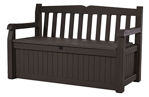Keter Eden 70 Gallon Storage Bench Deck Box for Patio Decor and Outdoor Seating, Brown/Brown (Bench White Glider)