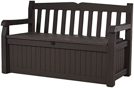 AmazonSmile : Keter Eden 70 Gallon Storage Bench Deck Box for Patio Furniture, Front Porch Decor and Outdoor Seating – Perfect to Store Garden Tools and Pool Toys, Brown / Brown : Outdoor Storage Benches : Garden & Outdoor