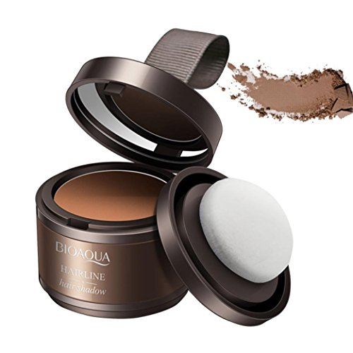 Hair Shadow Powder,Hongxin Magical Fluffy Thin Hair Powder Pang Pang Hair Line Shadow Makeup Hair Concealer Root Cover Up Unisex Instant Gray Coverage Hair Repair Powder Beauty Tool (Brown)