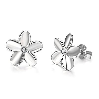 14K Gold Cubic Zirconia Rose Gold Rhinestone Flower Studs Earring for Women Girls Love Knot Hypoallergenic for Sensitive Ears Set