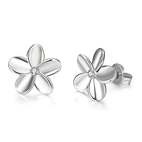 Rhinestone White Stud - White Gold Diamond Flower CZ Studs Earrings For Women Girls Cute Silver Rhinestone Crystal Post