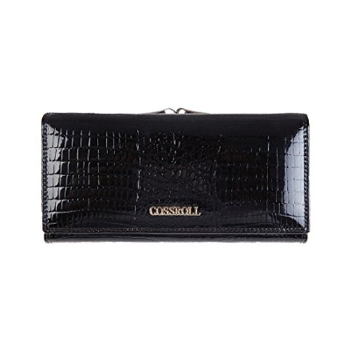 Genuine Leather Wallets Luxury Cover Large Capacity Handbag Metal Frame Kiss Lock Black ()
