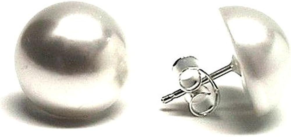 Pendientes Plata Ley 925M Media Perla Sintética 14mm. Cierre Presión Mujer
