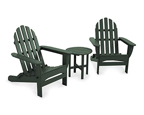 POLYWOOD PWS214-1-GR Classic Adirondack Chair Seating Set, Green