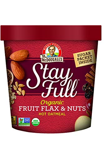 Dr. McDougall's Right Foods Stay Full Organic Fruit Flax and Nuts Oatmeal, 2.7 Ounce Cups (Pack of 6) Vegan, USDA Organic, Whole Grain, Non-GMO; Paper Cups From Certified Sustainably-Managed Forests