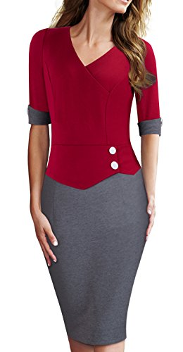 HOMEYEE Womens Official Sleeve Bodycon