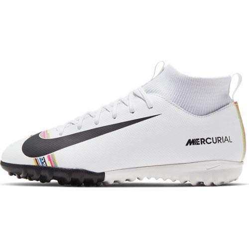 Nike Youth Soccer SuperflyX 6 Academy LVL UP Turf Shoes, White, 1.5