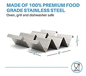Sparks Kitchen Co. 2 Pack Taco Holder Stand with Handles - Stainless Steel Taco Rack Holds up to 3 Tacos Each