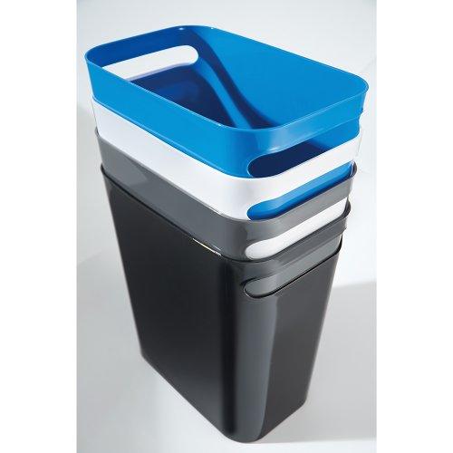 "iDesign Una Rectangular Trash Handles, Waste Basket Garbage Can for Bathroom, Bedroom, Home Office, Dorm, College, 12"" Inch"