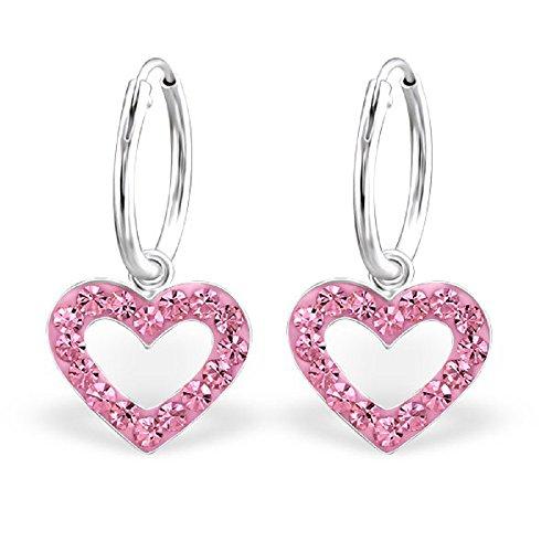 925 Sterling Silver Hypoallergenic Pink Rose Crystal Heart Dangling Hoop Earrings 24991 (Pink Hoop Heart)