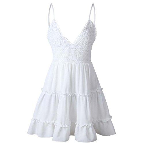 2018 Playa ◉ω◉Sexy Elegantes Espalda Falda Verano Encaje Falda Grandes Vestido para Mujer Abierta Vestidos Fiesta Tallas Blanco Largo Vestidos Vestidos Verano Vestido Encaje POLP de Casual x7BEq8Ywqc