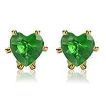 Rizilia Jewelry Appealing Well-liked Gold Plated Heart Cut Green Color Stone Stud Earrings