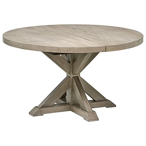 "Stone & Beam Creston Modern Expandable Wood Dining Kitchen Table, Round, 72""W, Oak"